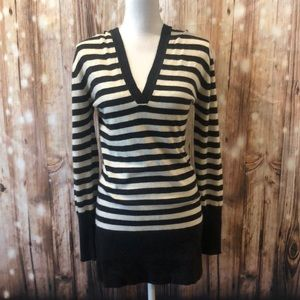 BCBG MaxAzria Angora Wool Blend Striped Hoodie L